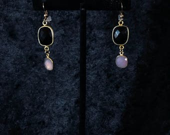 Onyx and Rose Quartz drop earrings