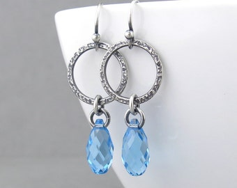 Hammered Silver Jewelry Blue Crystal Earrings Aquamarine Earrings Silver Circle Earrings March Birthstone Jewelry Gift for Her - Annabelle