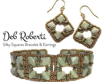 Silky Squares Bracelet and Earrings beaded pattern tutorial by Deb Roberti