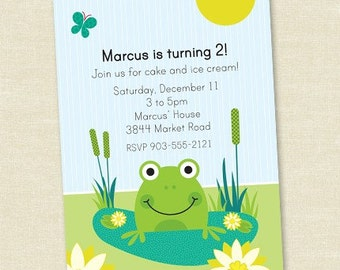 Custom Frog Birthday - Personalized Printable Digital Birthday Invitation - Personal Use Only