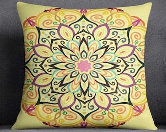 Boho Throw Pillow Covers, Mandala Cushion, 2 Mandala Cushion Covers,  Bohemian Throw Pillow, Mandala Throw Pillow Covers,One Pair