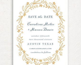 Printable Save the Date Template | INSTANT DOWNLOAD | Floral Wreath | Word or Pages Mac & PC | 4.25x5.5 | Any Colors