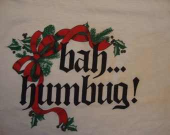 Vintage 80's Bah... Humbug! Scrooge Christmas Holiday Paper Thin Ringer T Shirt Size M