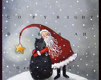 A Hug From Santa   A Small Bouvier Santa Christmas Snow PRINT by Deborah Gregg