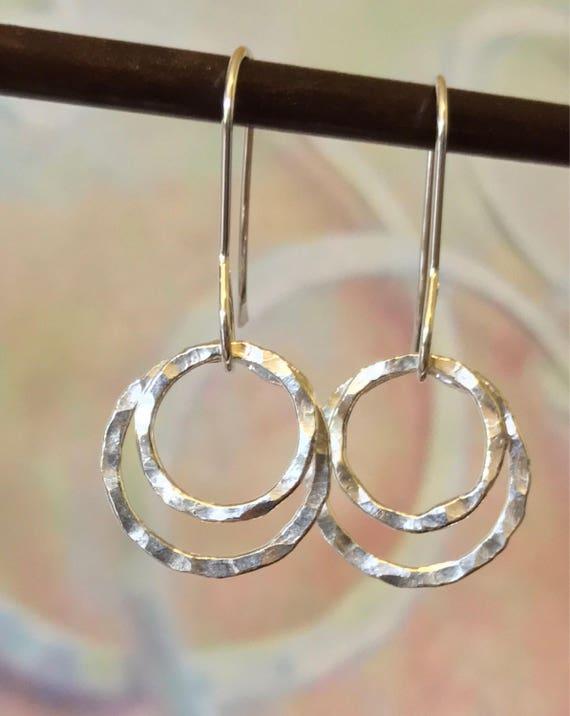 Fine Silver earrings, double hoops, circles, fused, hammered, Fine silver, .999,  Two Circles, dangle earring, simple silver earring