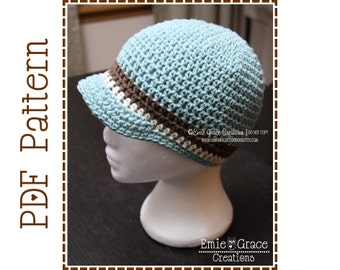 Crochet Newsboy Hat Pattern, 8 Sizes from Newborn to Adult, JOSIAH - pdf 401