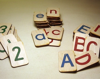 Mini Sandpaper Letters Set - Uppercase, Lowercase and Numbers on Birch Wood