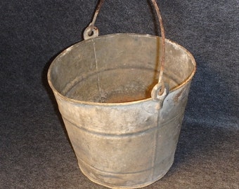 Rustic Farm Bucket - Galvanized Pail - Direct from an Old Farm Find  - Feed Grain Bucket