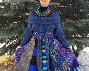 Upcycled Sweater Coat in Blues