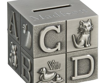 Personalized ABC Block Bank Custom Engraved Free Piggy Bank Pewter Coin Bank Children Gifts New Baby Shower Ring Bearer Flower Girl Gift