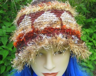 CUSTOM ORDER Crochet Cloche Hat Beanie Ochre Brown Temple Pillars