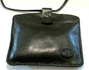 Black Italian Leather Whip Stitch Tote Shoulder Bag Long Handle Handmade