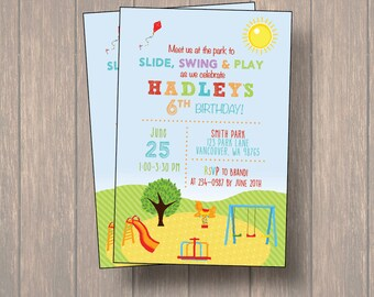 park invitation / picnic invitation / kids park invitation / park invite / birthday invitation, digital file