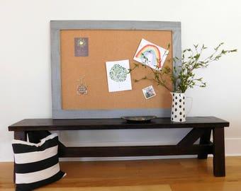 36 x 48 FRAMED BULLETIN BOARD - Cork Board - Message Center - Farmhouse Decor - Shown in Medium Gray - More Colors Available