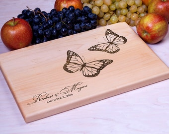 Cutting Board Wedding gift Personalized cutting board Butterflies - Custom Engraved - Housewarming gift Anniversary Gift for Couple chopping