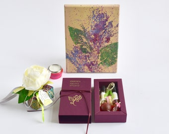 """Aroma therapy Spa relax calm Essential oil gift set""""Be Calm""""Aromatherapy for everyone  Aroma cute bag Aroma soap pendant"""