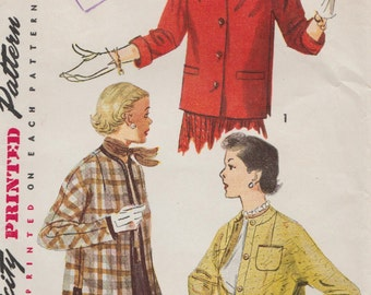 Simplicity 4376 / Vintage 50s Sewing Pattern / Jacket Coat / Size 14 Bust 32