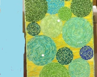OOAK Mosaic Art Flowers in the Sun using stained glass, Greens, Yellows, Blues & Aqua
