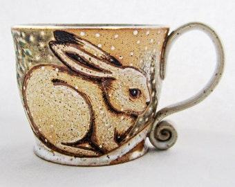 Winter Rabbit Mug, great gift idea, pottery mug,rabbit mug, Mothers Day gift, holds approx. 13-14 oz and is dishwasher and microwave safe.