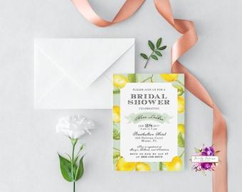 Lemon Bridal Shower Invitation - Vintage Style Lemon Citrus - Southern Belle - Printable Invitation - Watercolor - Digital Invitation