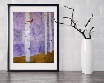 Cardinal, Bird, Art print, Woodland, Wall decor, Nature, Collage art, Whimsical art, Colorful, Bird art, Giclee print, Prints wall art
