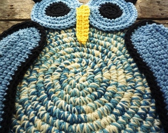 Crochet Owl Hot Pad - Blue Owl Trivet - Bird Hot Pad - Rustic Table Decor - Owl Kitchen Decor - Gift for Mom - Gift for Her - Owl Place Mat