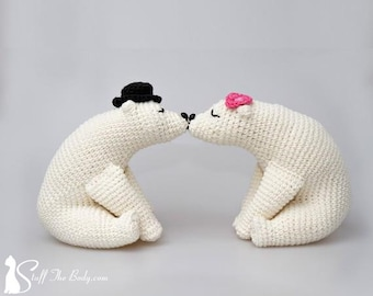 Kissing Bears Amigurumi Pattern, wedding crochet pattern, home decor, bridal shower, diy gifts, polar bears, white bears, valentines day