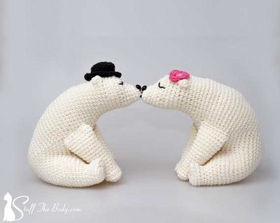 Amigurumi Oso Panda Patron : Kissing bears amigurumi pattern wedding crochet pattern home