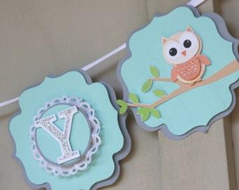 Custom owl banner, customizable banner, owl baby banner, owl nursery decor, baby name banner, nursery decor, teal and orange, owl banner