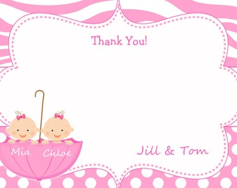 Twins baby shower thank you note  Twin baby girl shower