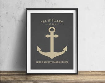 Wedding Gift Last Name Establish Family Established Print Custom Anchor Print Nautical Family Name Print Personalized Anniversary Gift