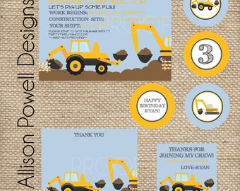 Construction, Digger, Back Hoe, Crane Birthday Party - SMALL Printable Party Package