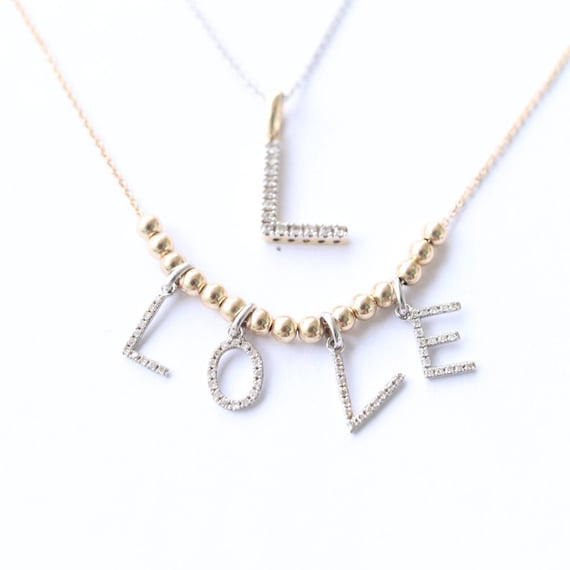 Mothers day gifts 14k yellow gold and diamond letter pendants aloadofball Choice Image