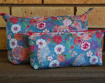 Japanese floral cosmetic bags