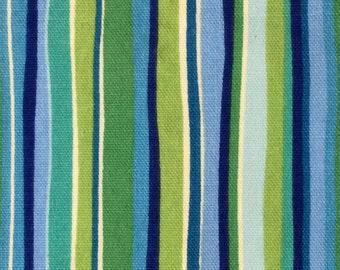 Aqua Lime Retro Stripe Fabric Remnant Maddie Boo Doodlefish Upholstery Bedding Fabric