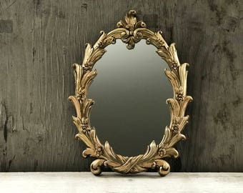 Vintage Floral Gold Mirror Burwood Products 1960's