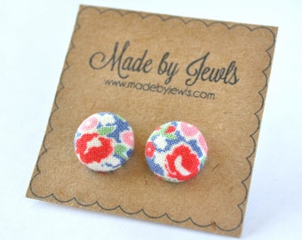 Blue Red Pink and Green Floral Handmade Fabric Covered Hypoallergenic Button Post Stud Earrings 10mm