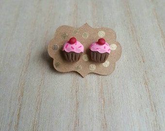 Cupcake with a Cherry on Top Studs