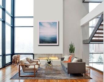 Dreamy Wall Decor, Nature Photography, Ocean Art, Puget Sound, Minimalist Poster, Blue, Pacific Northwest Art, Bainbridge Island Home Decor