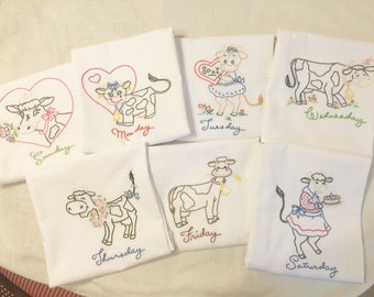 Set of 7 Hand Embroidered Kitchen Towels with Days of the week Cow theme. Dish Drying, Quality vintage Towel.
