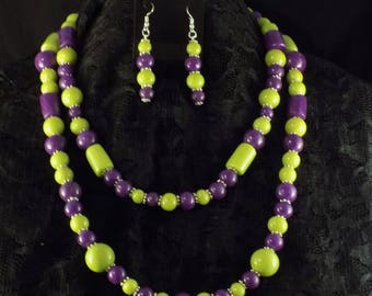 Statement Necklace and Earrings in Purple and Green