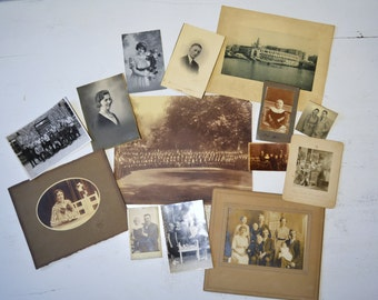 Big lot antique vintage photographs pictures instant collection black and white sepia