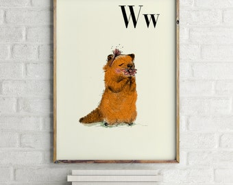 Woodchuck print, nursery animal print, woodland nursery, alphabet letters, abc letters, alphabet print, animals prints for nursery