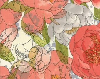 Cream Grey Blushing Peonies Fabric -48610 11 - Robin Pickens - Moda