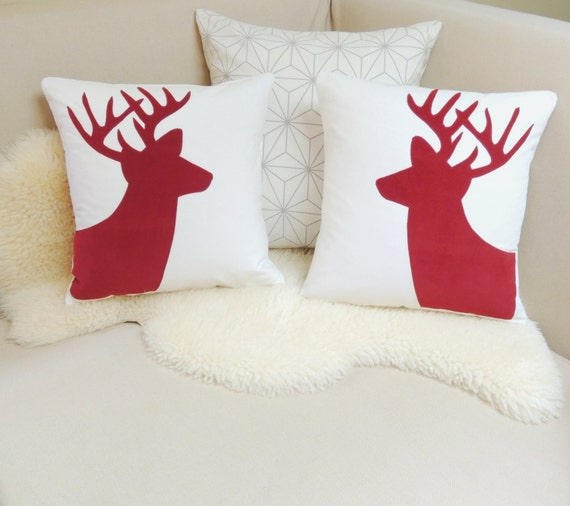 Holiday Deer Pillow Cover Pair Christmas Red Corduroy