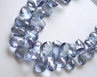 Mystic Blue Quartz Gemstone Bead. Faceted Pear Briolette, 10-14mm. Semi Precious Gemstone.  Pairs or Non Match 1 to 9 Briolettes  (4B12)