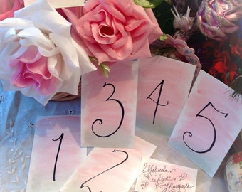 Custom Wedding Calligraphy ~ Watercolor ~ Table Number ~ Place ~ Escort Card ~ Thank You Favor Tag ~ Handwritten ~ Affordable ~ Hand Painted