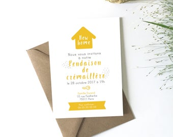 Housewarming gift, download, customize, invitation card new home, moving, housewarming, mustard yellow gift