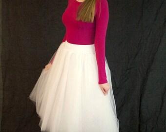 Ivory Tulle Skirt - Adult Tea Length Tutu - Stretch Lycra Waistband Midi Skirt - Crinoline or Petticoat - Custom Size