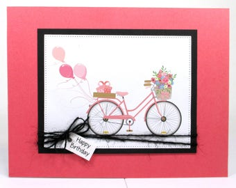 Birthday card for her, bicycle birthday card, birthday balloons, birthday card for girls, birthday cards handmade, birthday card for mom